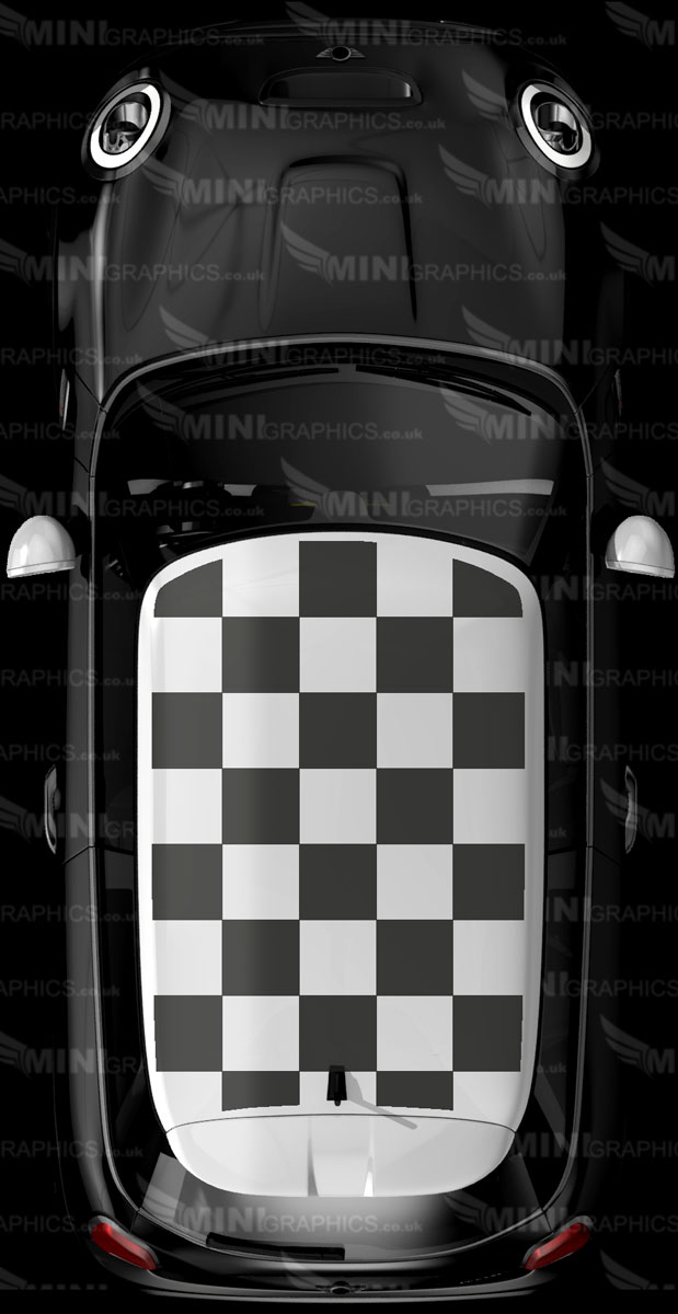 Mini Graphics Roof Decal Bordered Checkered Roof