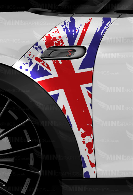 Mini Graphics A Panel Decals Union Jack In A Grunge Pattern
