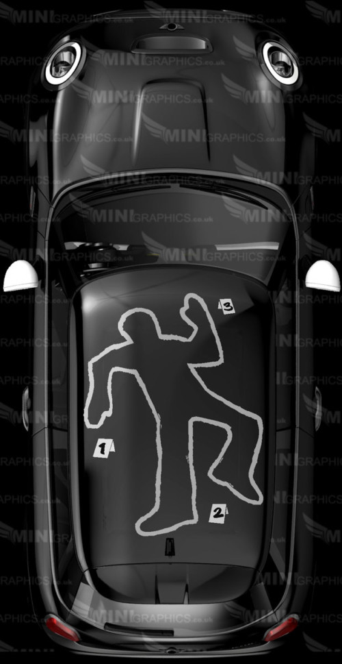 chalk outline of body on a mini roof